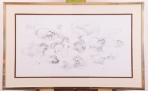 Print of otter drawings by Geldart for auction