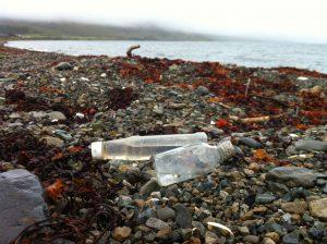 Bottles on beach Knock Hatchery