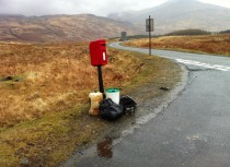 Litter collected at roadside, Kinloch, Isle of Mull