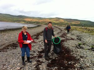 BusyVolunteers at the Knock Hatchery beach clean