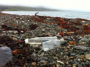 Bottles on beach Knock Hatchery